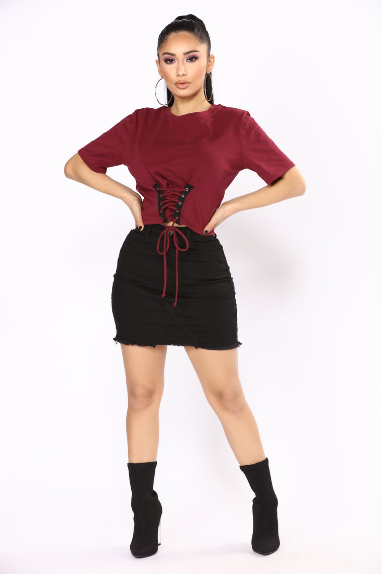 Have You Ever Corset Tee - Wine