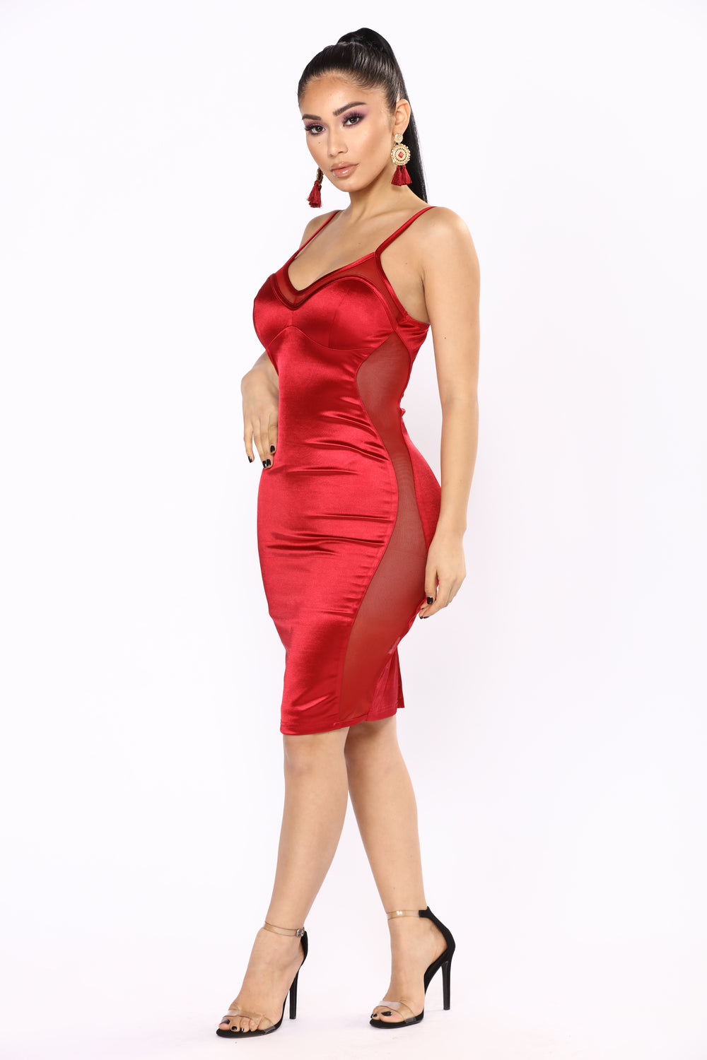 Party Go Satin Dress - Burgundy