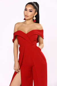 Eternal Optimist Off Shoulder Jumpsuit - Wine