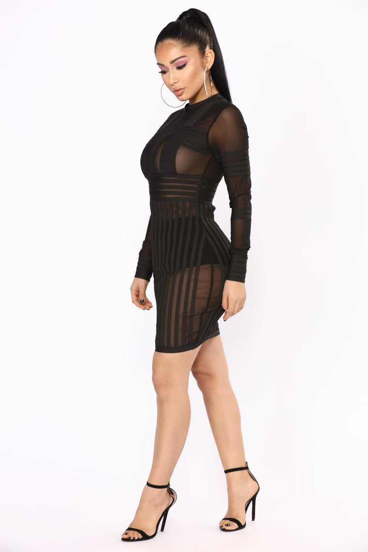 Mesh Made Me Do It Dress - Black