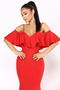 Somebody To Love Flounce Dress - Red