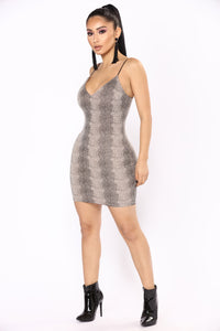 Poisonous Snake Dress - Taupe