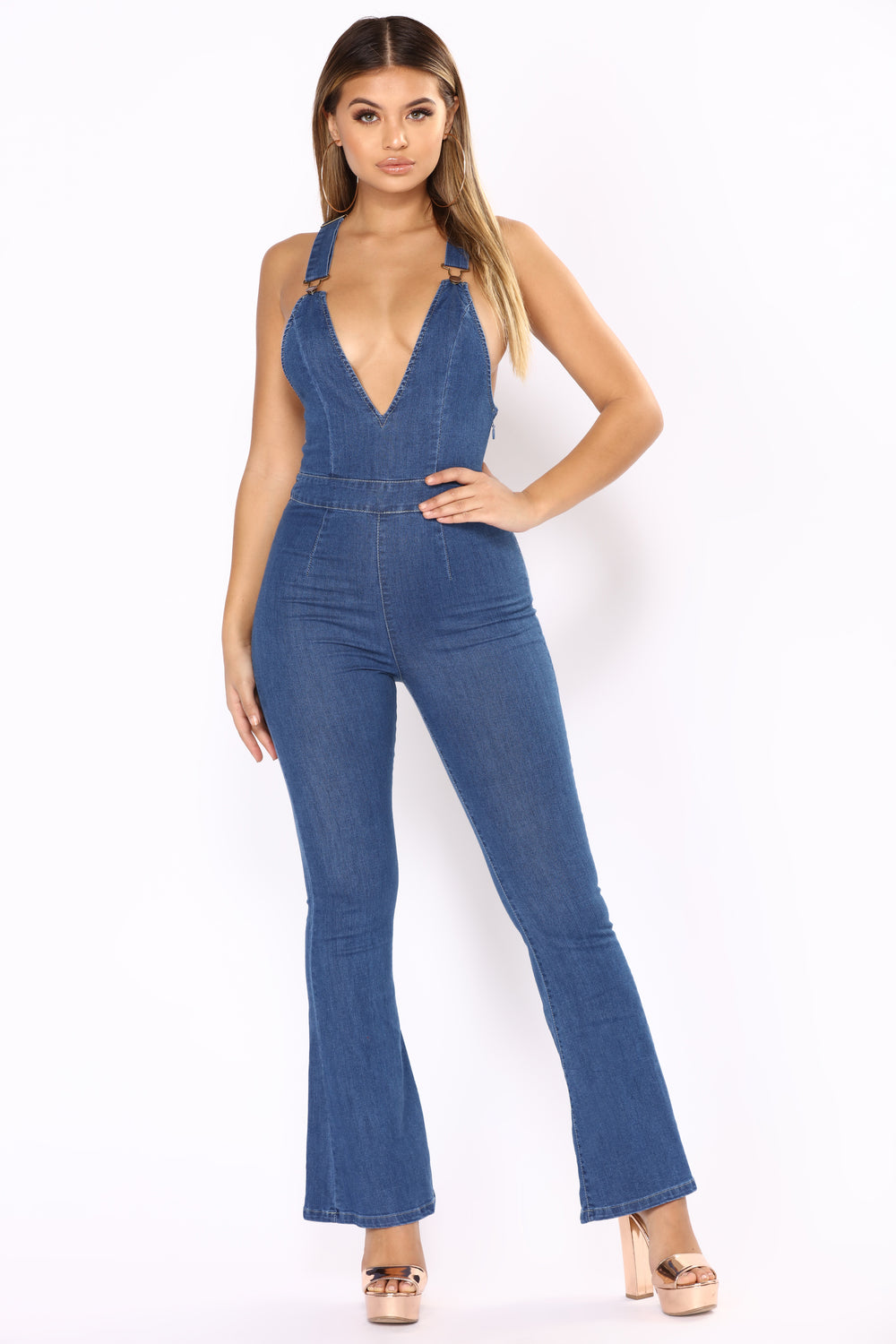 Love A Flare Jumpsuit - Dark