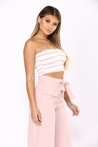 Love Touch Striped Tube Top - Pink/White