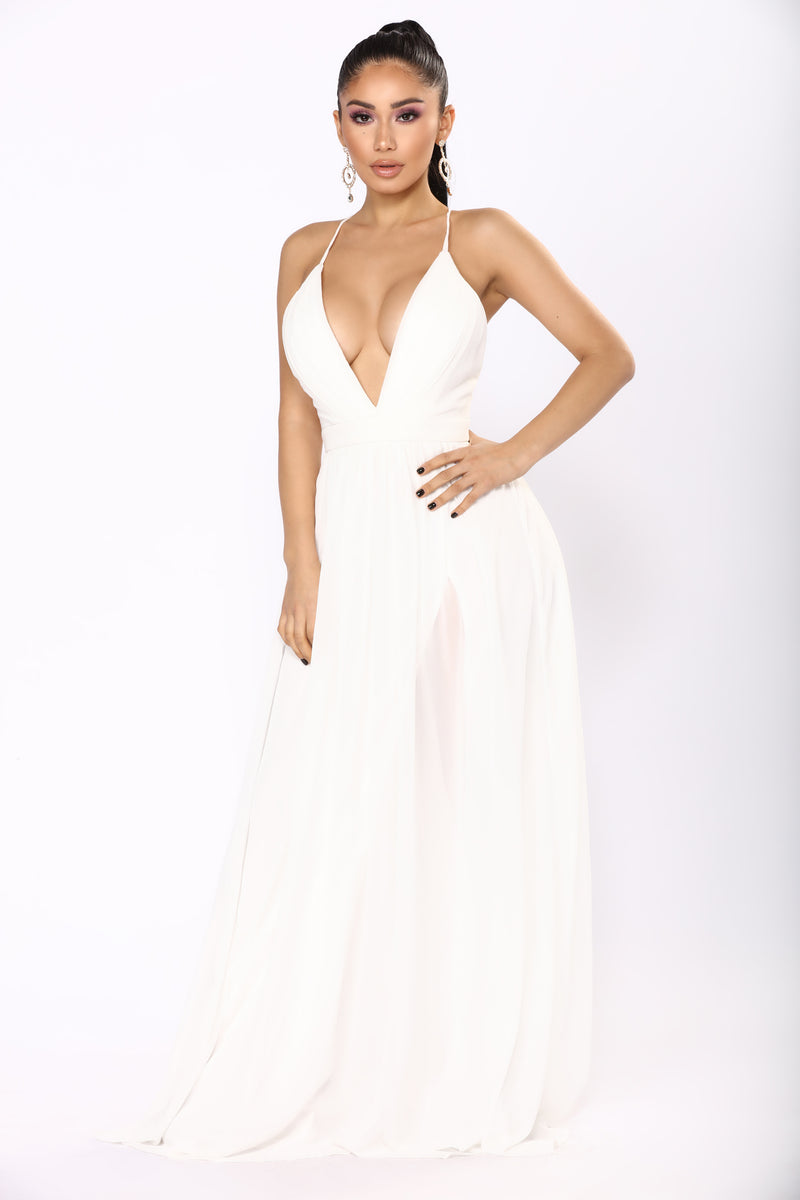 Hold Your Hand Chiffon Dress - White
