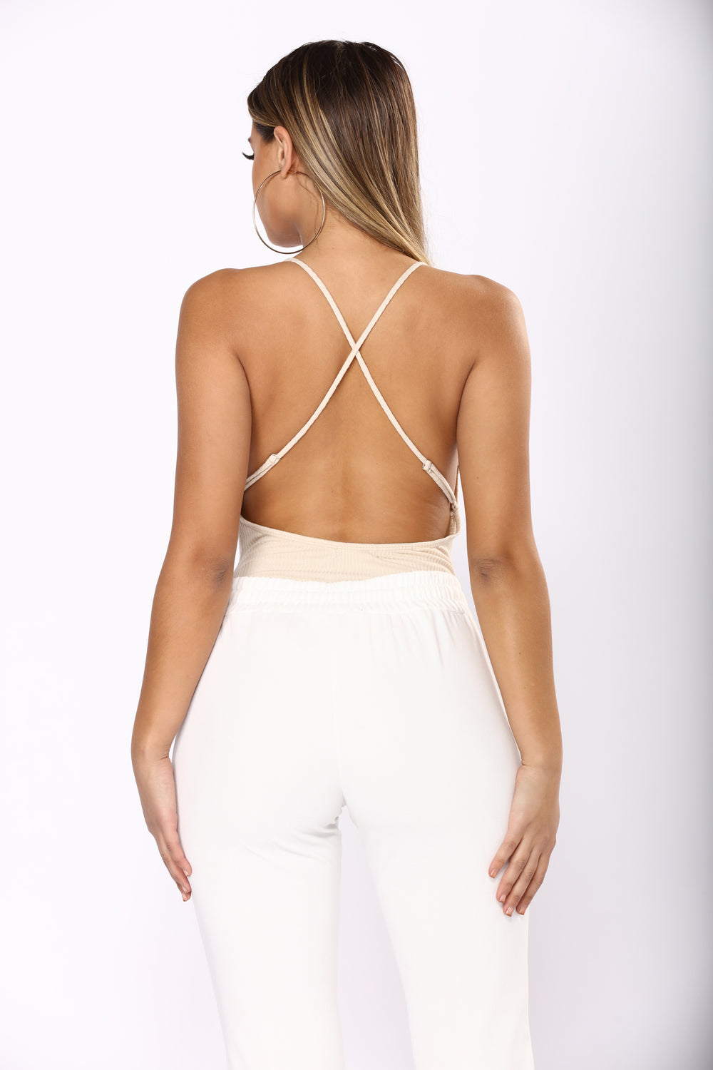 Just A Peck V-Neck Bodysuit - Taupe