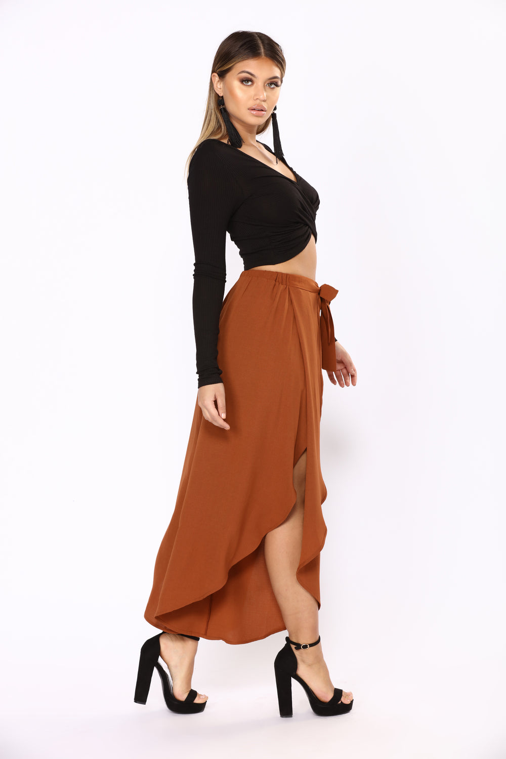 Simona Layered Waist Tie Pants - Hazelnut
