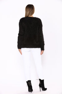 Homey Fuzzy Cardigan - Black