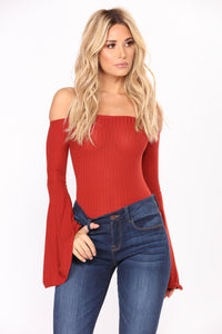 Kaydence Off Shoulder Bodysuit - Rust