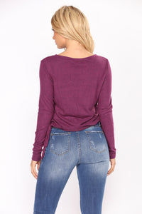 Leave With You Lace Up Top - Plum