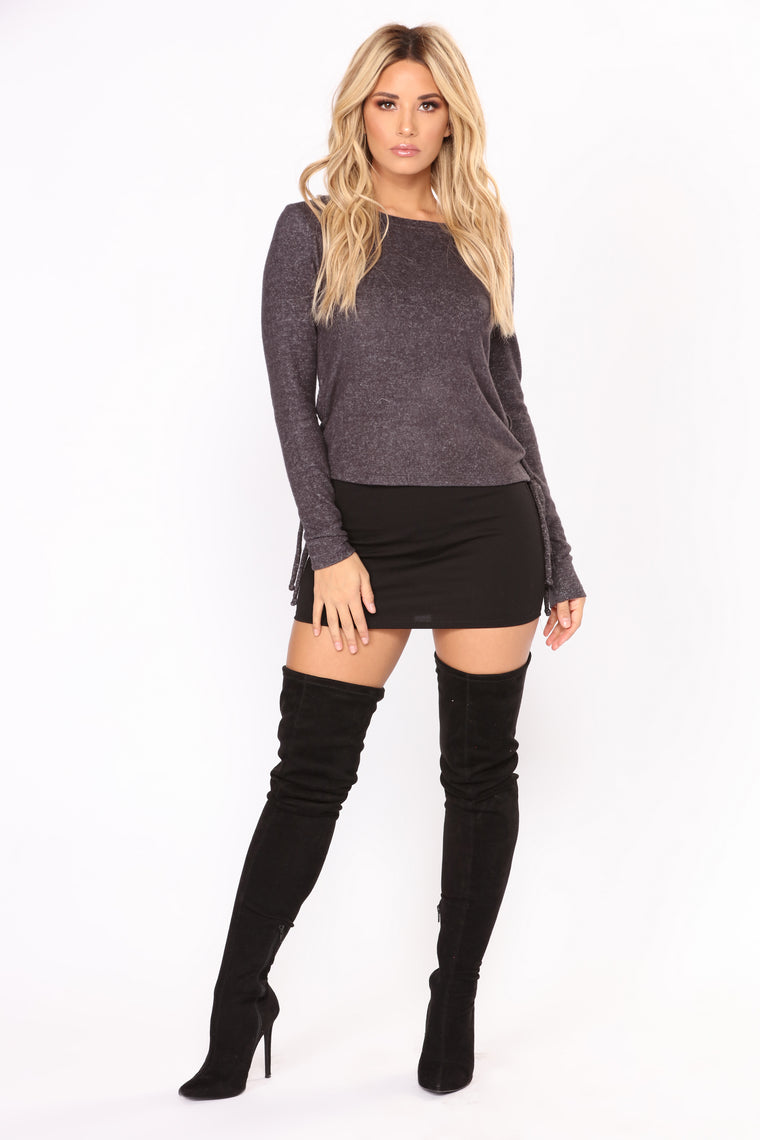 Leave With You Lace Up Top - Charcoal