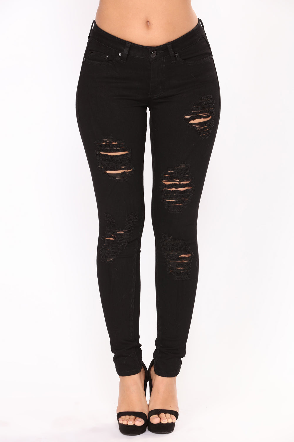 Robyn Distressed Skinny Jeans - Black