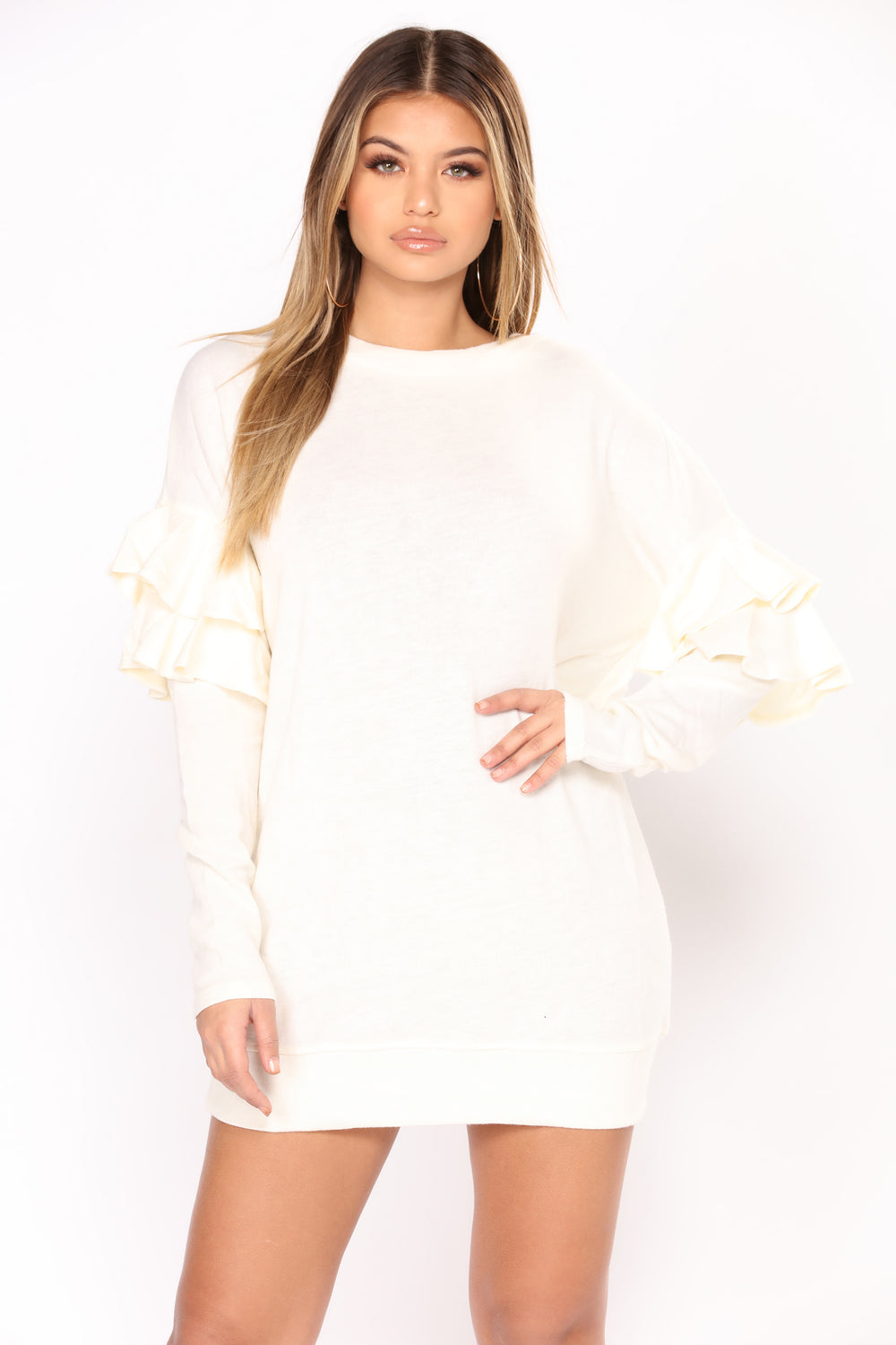 Supermodel Ruffle Sweater Dress - Ivory