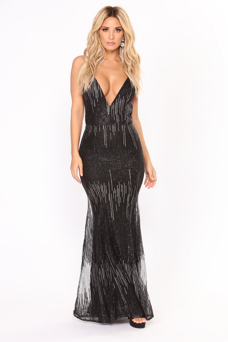 Fine Light Glitter Dress - Black