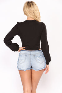 Gemma Long Sleeve Top - Black