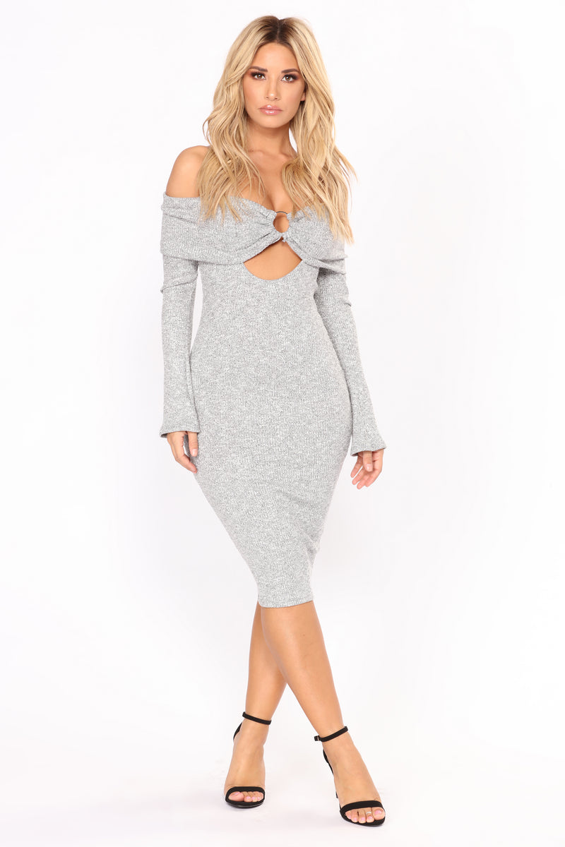 A Night In The City Midi Dress - Grey/Silver