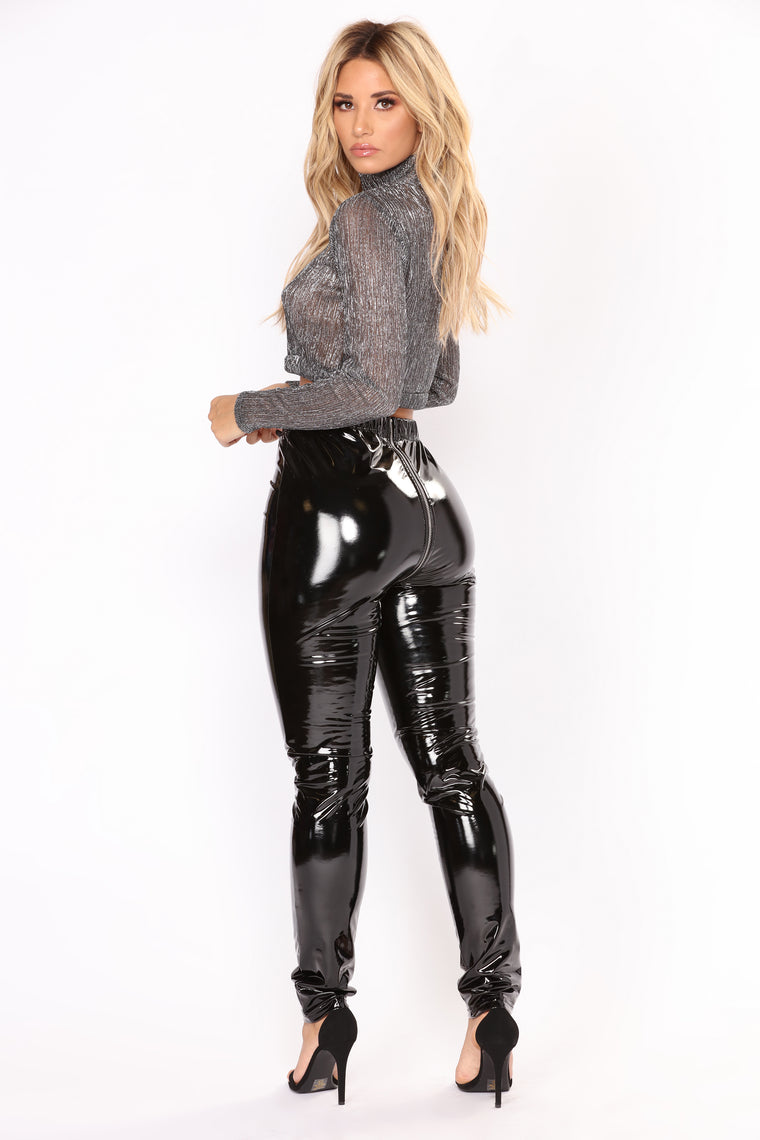 Narina High Rise Latex Leggings - Black