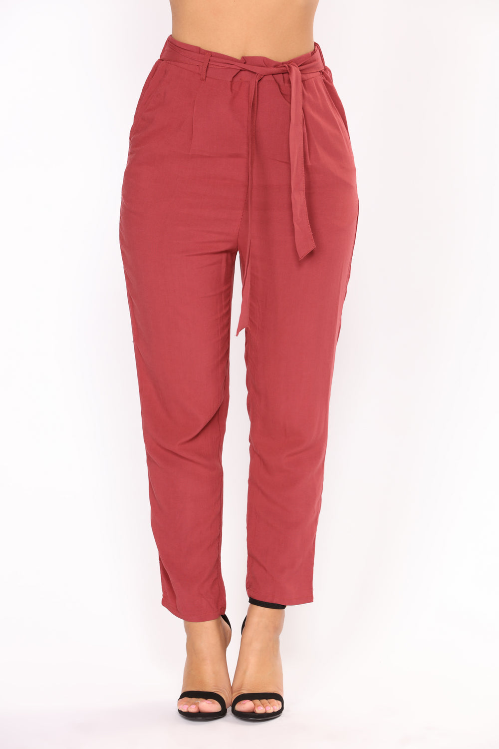 Work It Waist Tie Pants - Marsala