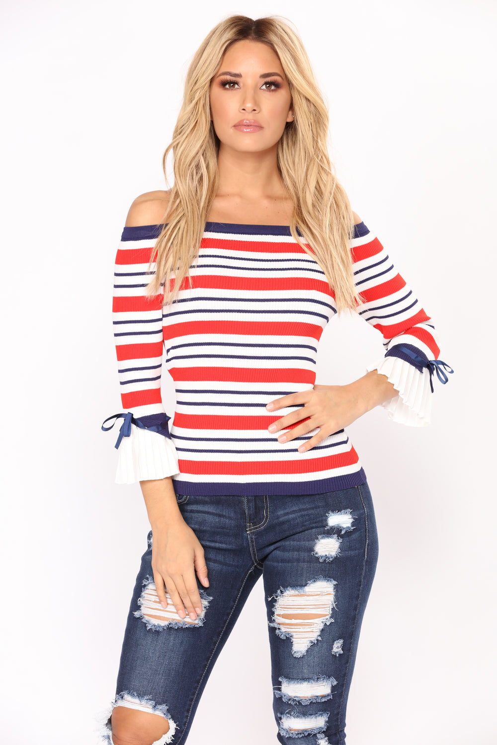 Lyvia Off Shoulder Top - Red