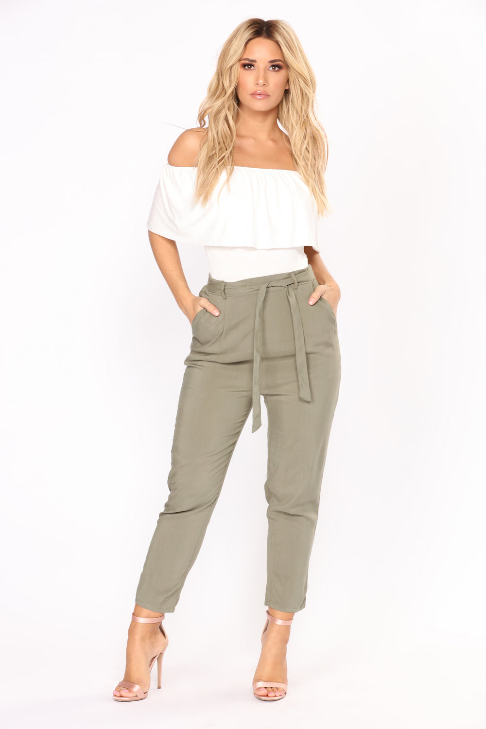Work It Waist Tie Pants - Olive