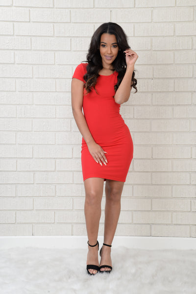 Cross Over Dress - Red