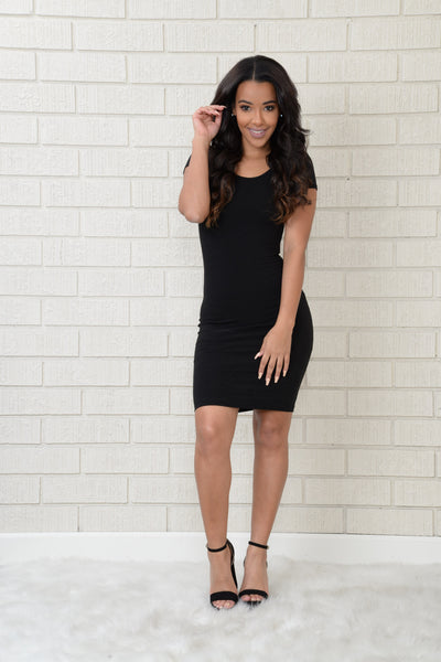 Cross Over Dress - Black