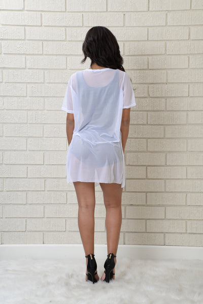 Turn Up Tunic - White