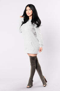 Tip of The Iceberg Sweater Dress - Heather Grey