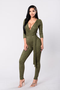 Looking For A Reaction Jumpsuit - Olive