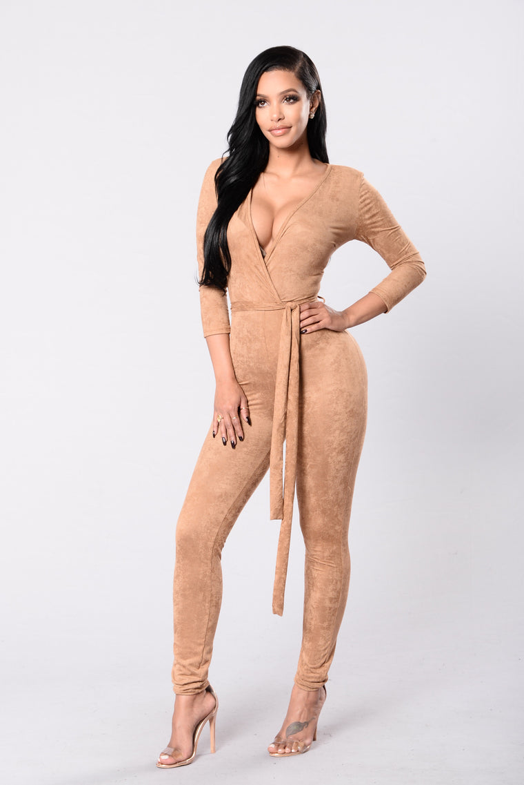 Looking For A Reaction Jumpsuit - Camel