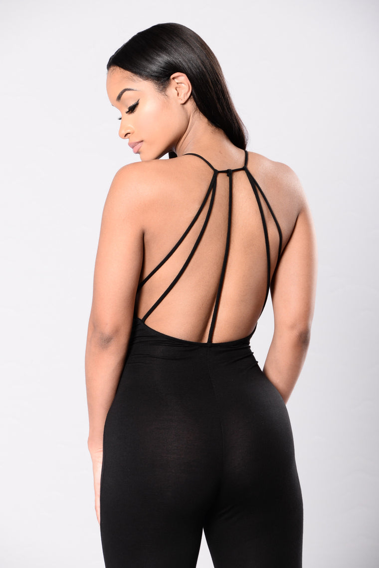 Straight To The Point Jumpsuit - Black