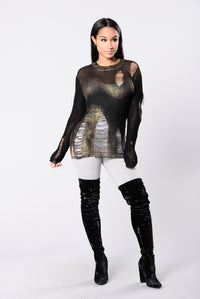 Love In The Dark Sweater - Black/Gold