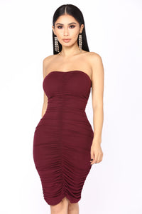 Li Ruched Dress - Eggplant