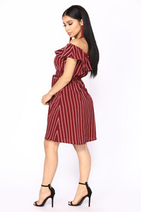Faking It Stripe Dress - Burgundy