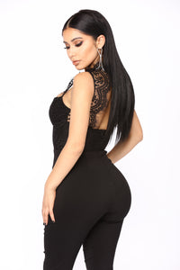 Without A Doubt Lace Jumpsuit - Black