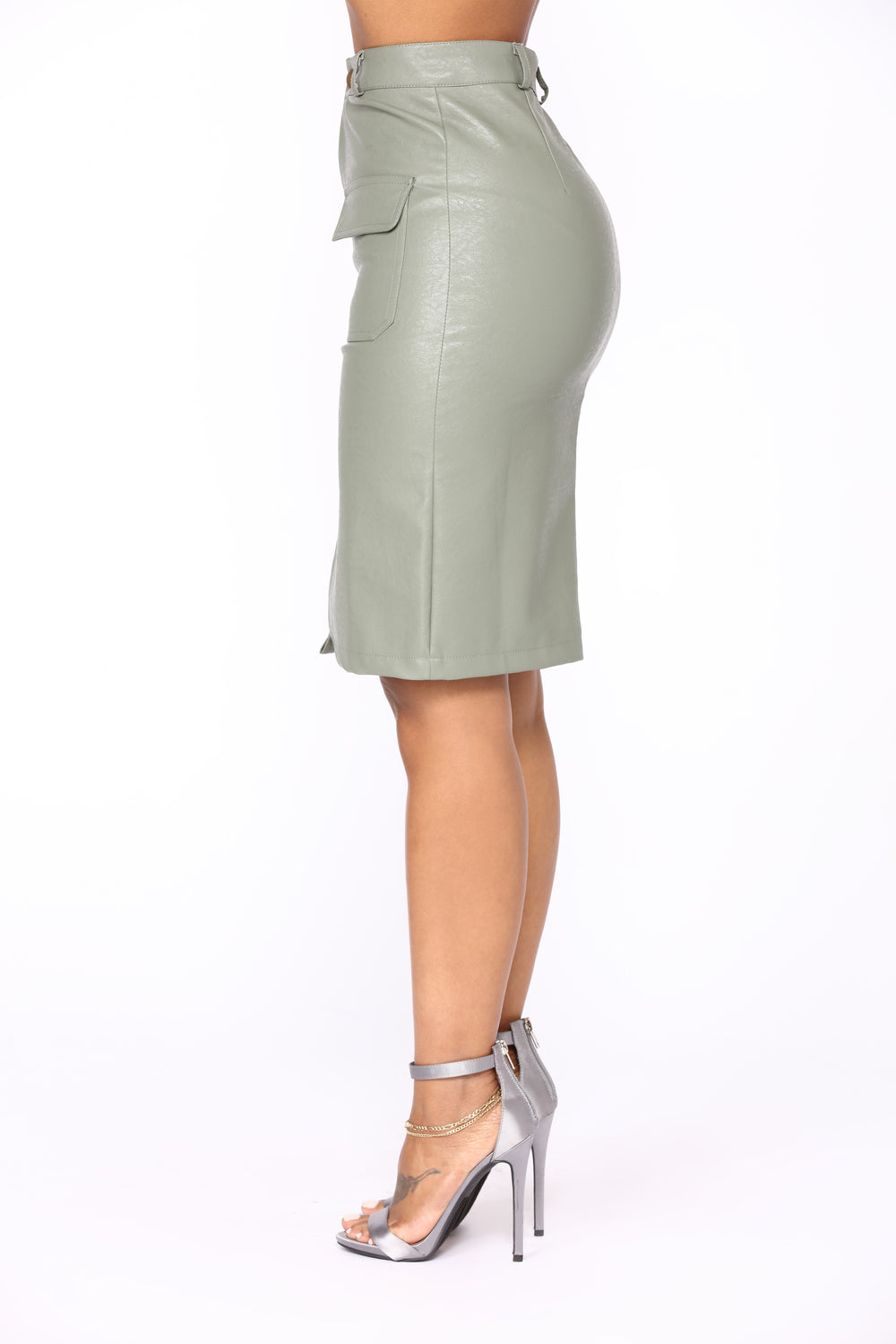 No Free Time Faux Leather Skirt - Olive