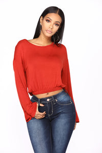 Cooler Than Ever Bell Sleeve Top - BrickRed