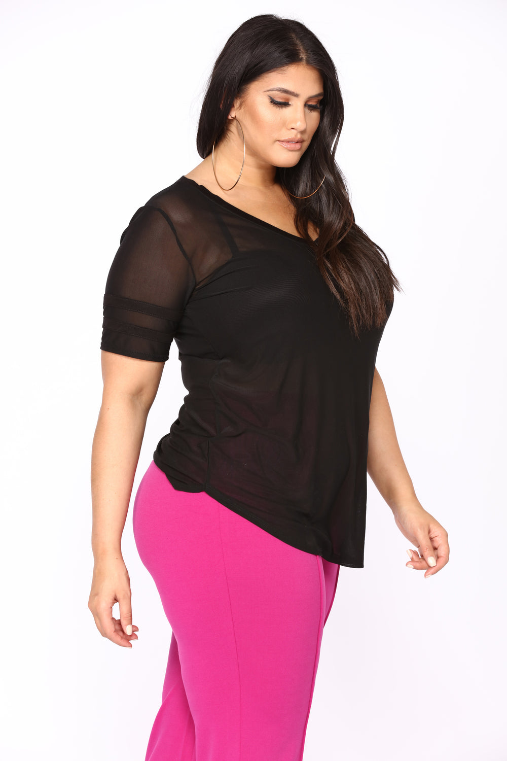 On Each Other's Team Mesh Top - Black