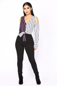Fun And Games Striped Top - Navy