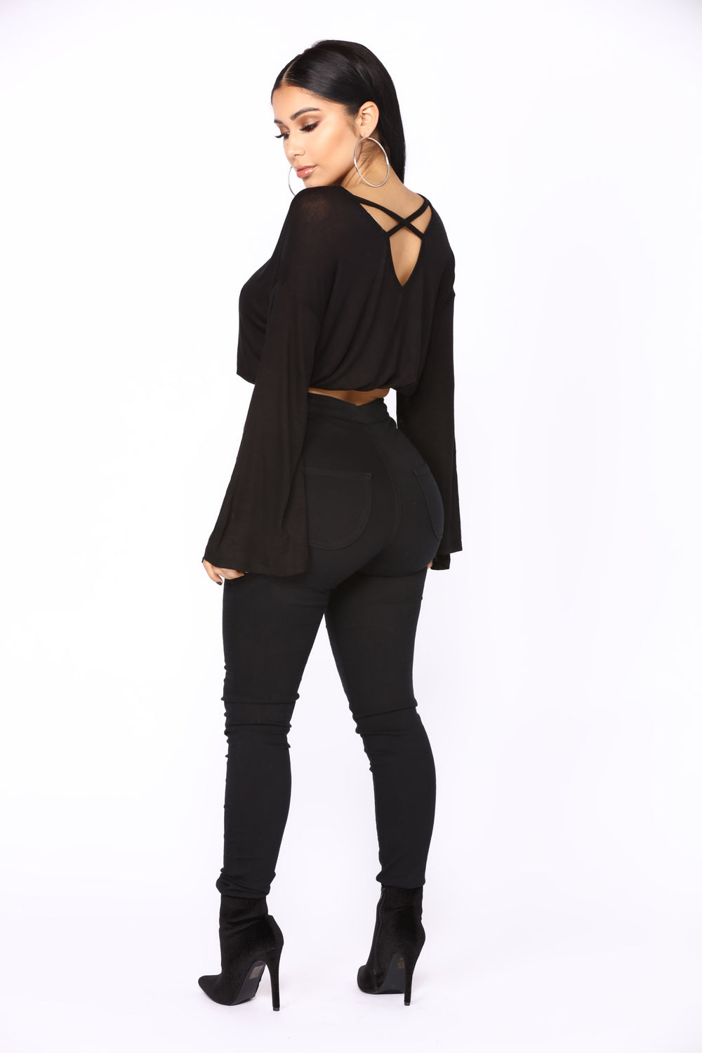 Cooler Than Ever Bell Sleeve Top - Black
