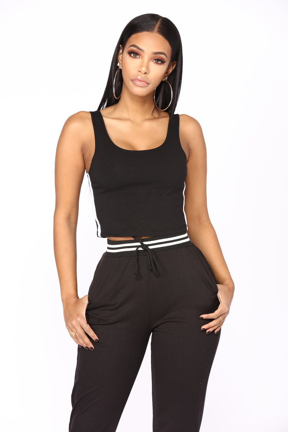 Must Have Striped Lounge Crop Top - Black