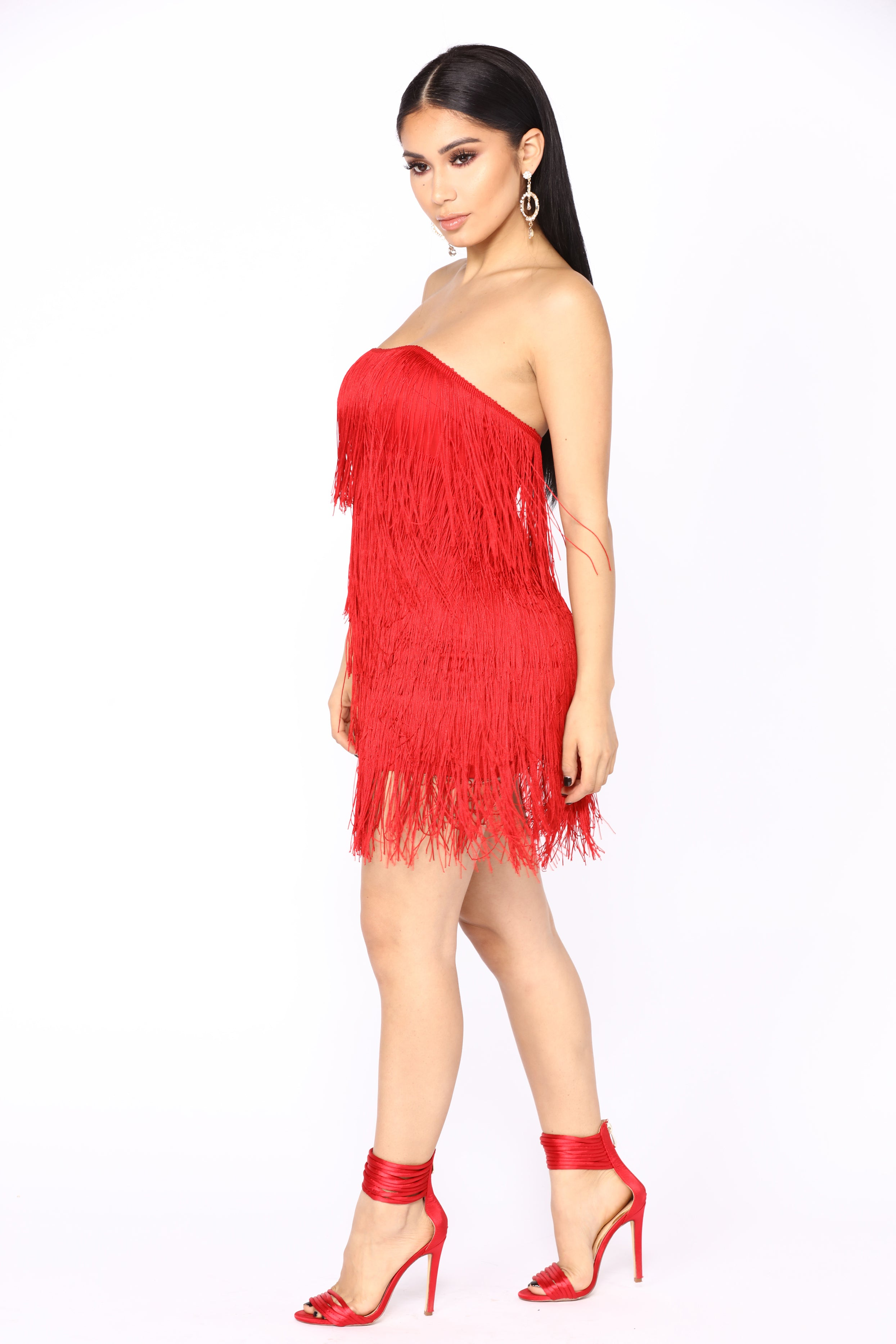 prohibition fringe dress red