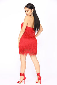 Prohibition Fringe Dress - Red