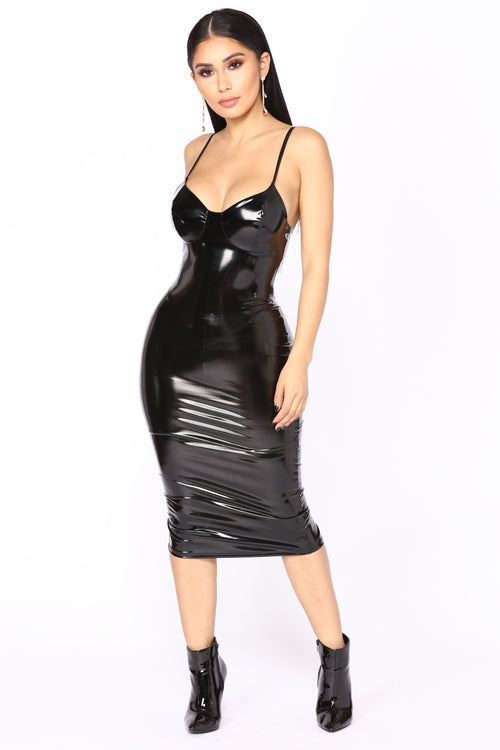 Wake Up The Neighbors Latex Dress - Black