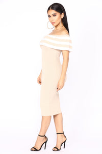 How To Feel Knit Dress - Taupe Angle 3