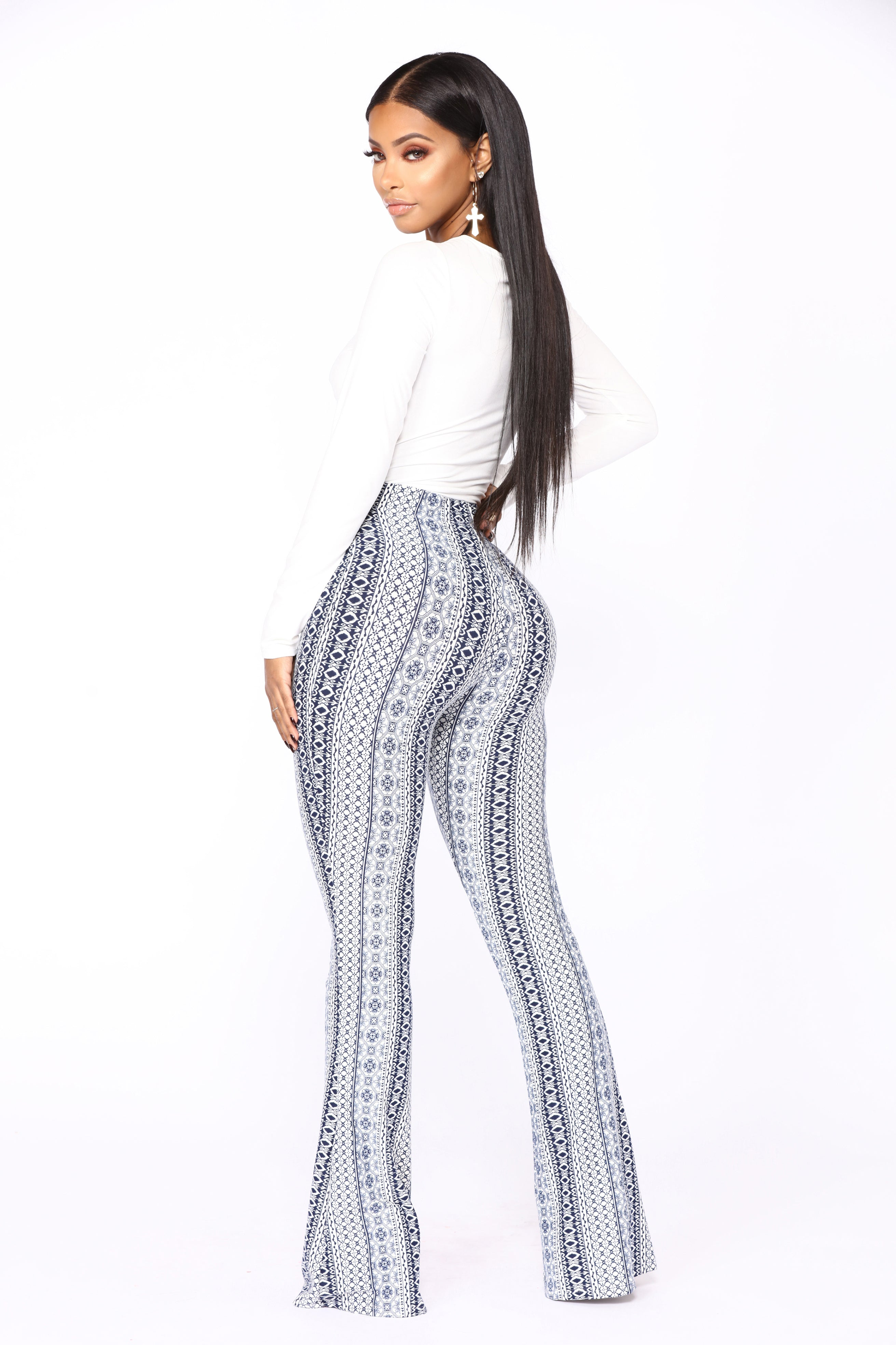 Holly High Rise Printed Pants Navy