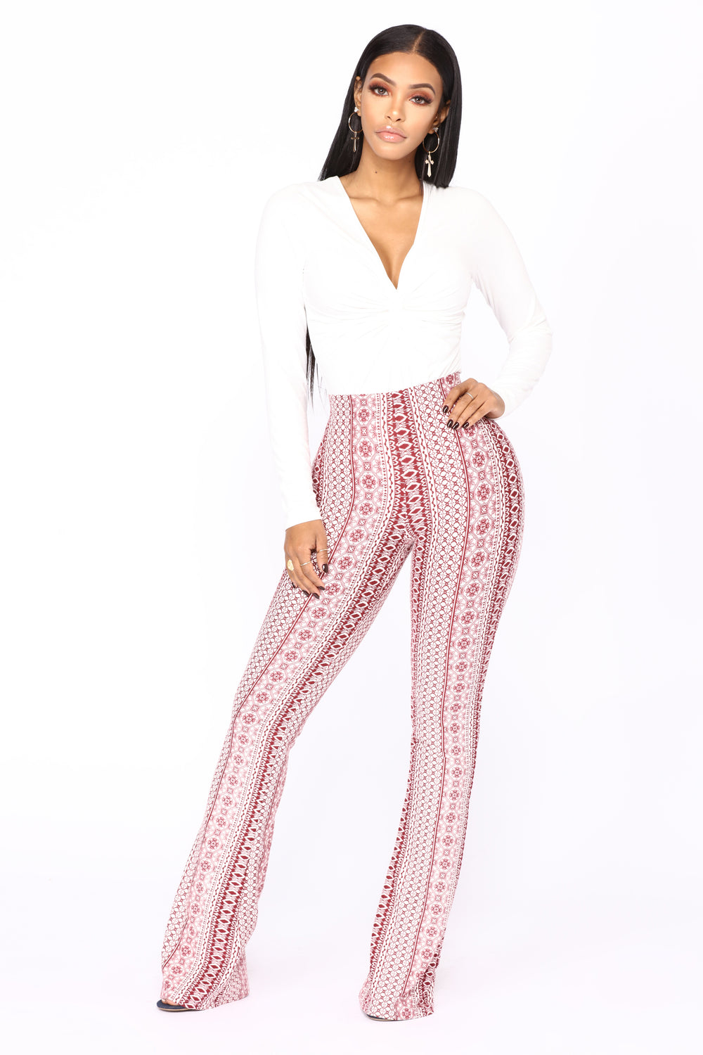 Holly High Rise Printed Pants - Red/White