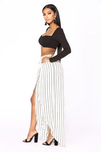 Maja Stripe Pants - White/Black