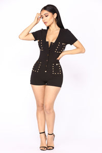 Stuck On You Studded Romper - Black