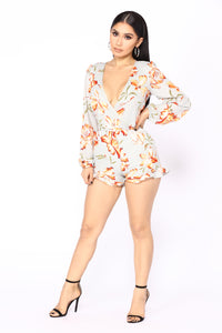 Make My Day Floral Romper - Sage/Orange